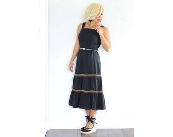Vintage 1970s black tiered midi dress