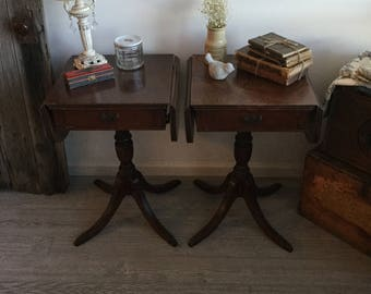 Pair Of Vintage Drop Leaf End Tables With Drawer And Metal Claw Feet ~  Mahogany End