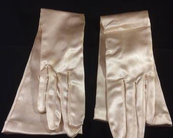 Dents vintage retro 40s 50s 60s satin effect stretch evening gloves