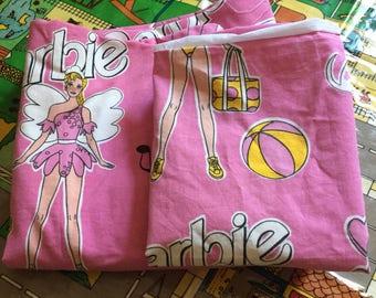 Vintage 80s/90s Pink Mattel Barbie Single Duvet Cover and Pillowcase Set