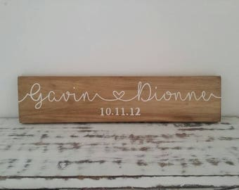 Personalised Family Name Sign - custom wooden sign with any names, personalised family sign, wedding gift, wedding present, anniversary gift