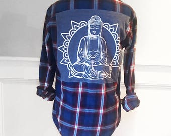 Buddha Flannel Tee vintage soft 1980's blue and red plaid flannel shirt Buddha t shirt cut and sewn on back Unisex men's size Small