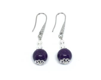 Earrings in silver and agate purple/cassis.