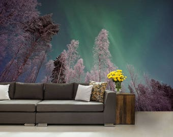 FOREST WALL MURAL, Atmosphere wall mural, night forest, forest mural, self-adhesive , galaxy wall mural, Alps wall mural, aurora boreali
