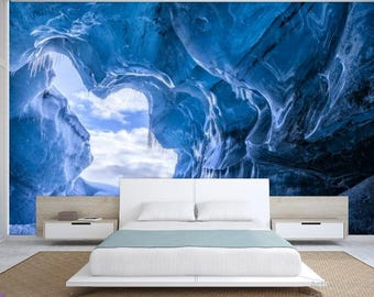 Ice cave wallpaper, ice cave wall mural, cave wallpaper, cave wall mural, blue cave wall mural, cave ocean wallpaper, cave wallpaper,