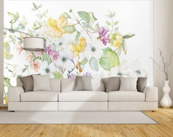 oil painting leaves, leaves painting wall decal, watercolor rose, vintage floral wall decal, leaves wallpaper, design leaves wall decal