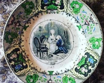 Plate polychrome Creil et Montereau. Flat talking. antique french. Scene statement. Transferware. 1844 Romantic