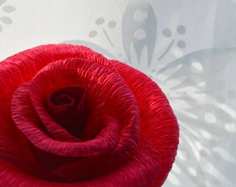 Classic, red paper rose, made from Italian crepe paper.
