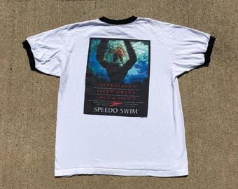 Vintage Speedo T-shirt Large Deadstock New W/O tags Swimming motivational shirt