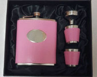 7oz Pink Hip Flask plus 2 Cups & Funnel - with space for engraving in the oval on the front! Complete with gift box