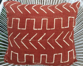 Terra Cotta African Mudcloth Pillow Cover