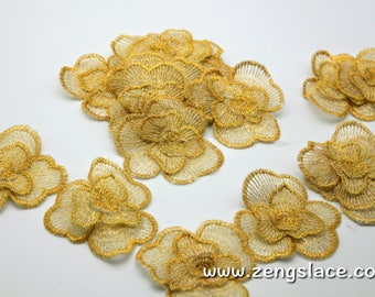Floral Golden Fabric Flowers/ DIY Hair Bow Flowers/Lace flowers/Lace Applique/DL-08
