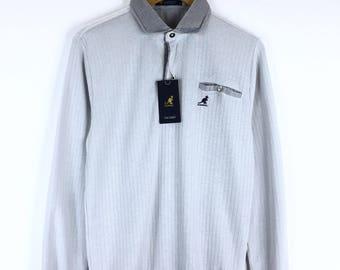 Deadstock!! Rare!!! Kangol Sport Sweatshirt Small Logo Embroidery Pullover Jumper Sweater Stripes Half Zipper KGSP England