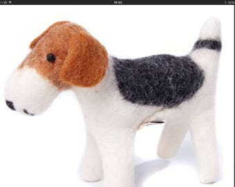 Felt Wire Fox Terrier - vintage style 1940's toy dog.