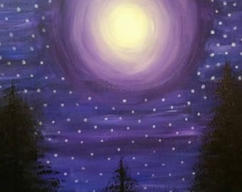 Glow in the Dark-Acrylic Landscape Art. Wall Decor. Night sky. Purple. Abstract