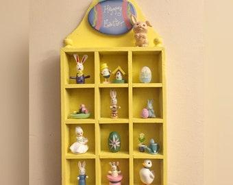 Kitschy Cute Easter Shadow Box/Knick Knack Shelf