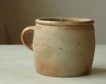 Antique French Confit Pot. Stoneware pottery.  French Country Stoneware crockery. Farmhouse condiments/grease pot  Rustic Earthenware.