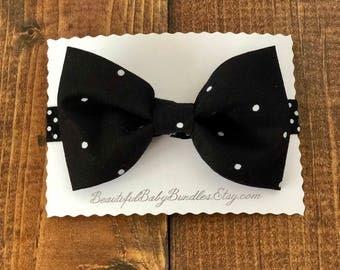Black & White Large Polk-A-Dot Bow