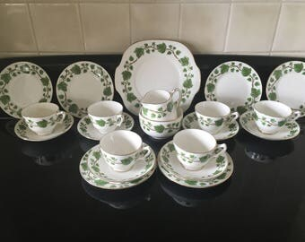 Crown Staffordshire Ivy pattern tea set 21 pieces