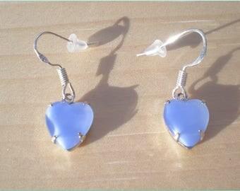 Handmade Moonglow Heart Earrings With Vintage Stone, Glass Earrings, Sky Blue Earrings, Jewelry Findings
