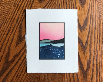 Abstract landscape, Abstract watercolor, Original painting, Tiny art, Minimal design, MINI painting, Pink sunset