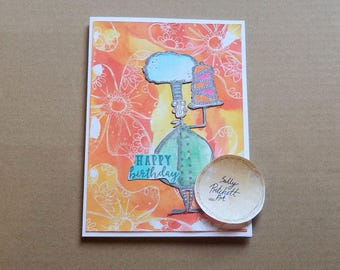 Green Chef Happy Birthday Card, Handmade Greeting Card, Hand Stamped Card