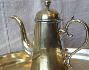 Conical brass antique coffeepot Danish about 1900