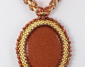 Beaded Goldstone Pendant Necklace