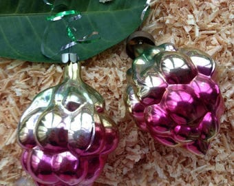 Pine cone Christmas ornament in pink color. Set of 2 pine cone jingle balls. Christmas gift