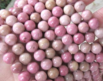 Rhodonite beads, 8mm rhodonite, pink rhodonite beads, full strand, pink gemstone beads, beads for malas, necklace beads, bracelet beads