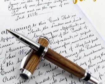 Ash Irish (Tinted) wood Roller Ball Pen (Hambrook Chrome 1126)