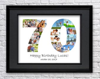 Digital File 70 Anniversary Gifts Number Photo Collage Seventy Birthday Custom Photo Collage Art Photo Collage Gift 70th Birthday 70th Art
