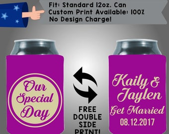 Our Special Day! Names Get Married, Date - Personalized Can Coolers, Custom Collapsible Neoprene Beer Can Coolers, Wedding Favors (W357)