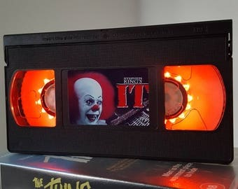 Retro VHS Lamp IT by Stephen King Night Light Table Lamp, Horror Movie . Order any movie! Great personal gift. Man Cave. Office.