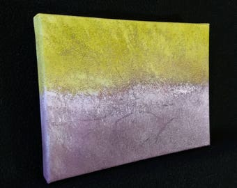 "Ambient Painting 2018 #19 (Bravocene) - 6""x8"" acrylic on canvas yellow white winter-like abstract"