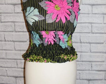 Size 12 vintage 60s sleeveless shirred waist top black psychedelic print (HZ37)