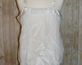 Size 16 vintage 80s loose fit strappy cami top pleated edge silky ivory (HL30)