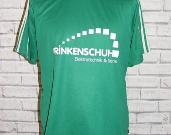 Size M vintage 90s Adidas football t shirt top s/sleeve green polyester (HR09)