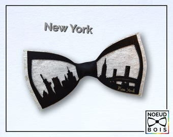Wooden bow tie, Chicago Pattern, road trip collection, laser cut, engraved, customizable, city outline, travel, around the world