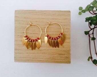 Tiny burgundy hoop earrings in 14 Kt Gold Filled, Ethnic Earrings, Small hoop earrings, Comme les Blés
