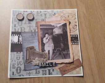 Card - birthday card - vintage black & white photo - camera - smile