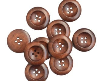 100 Brown wooden buttons 25 mm