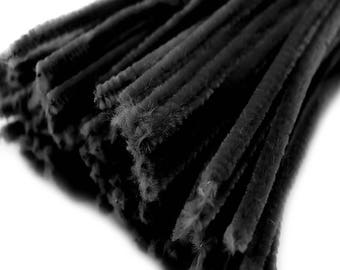 20 wire, pipe cleaners 6 mm length 30cm CHENILLE, black