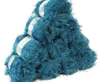 10 x 50 g effect yarn LEA with fringes, #028 blue