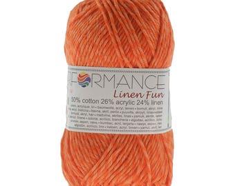 10 x 50 g knitting wool linen fun #194 orange