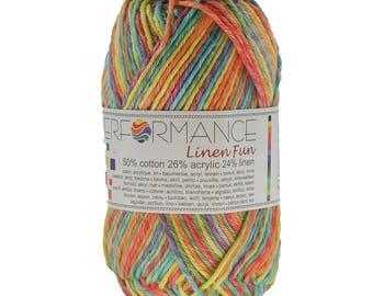 10 x 50 g knitting wool linen fun #9073 turquoise yellow red