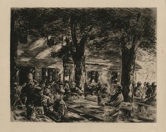 """MAX LIEBERMANN (German, 1847-1935), """"Kellergarten in Rosenheim (Sellar Garden in Rosenheim)"""", 1895, original etching."""