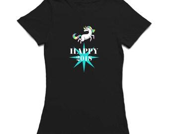 Happy 2018 Beautiful Unicorn Women's T-shirt