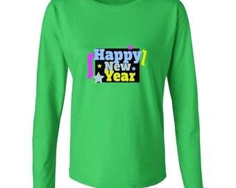 Happy New Year Stars Graphic Women's Long Sleeve