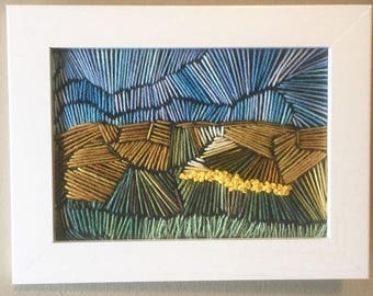 Embroidery landscape, framed art, prairie, canola, embroidered